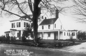 "Thomas Topping came from Southampton in the 1750s or 1760s and was the first to own the property pictured here.  It was just a small farmhouse originally, and after Toppings death in 1777, Dr. Joseph Hedges purchased the farm.  It started out as a restaurant in the mid-1940s and was called  ""The Wo Wanda,"" then the ""Maple Tree Inn,"" then ""The Twins Inn,"" ""Sweeney Todd's,"" and as it is today, ""The Lamplighter."""